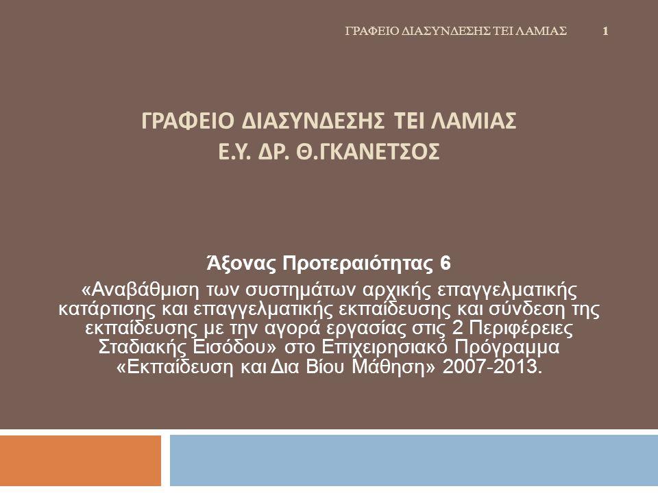 ΓΡΑΦΕΙΟ ΔΙΑΣΥΝΔΕΣΗΣ TEI ΛΑΜΙΑΣ Ε. Υ. ΔΡ. Θ.