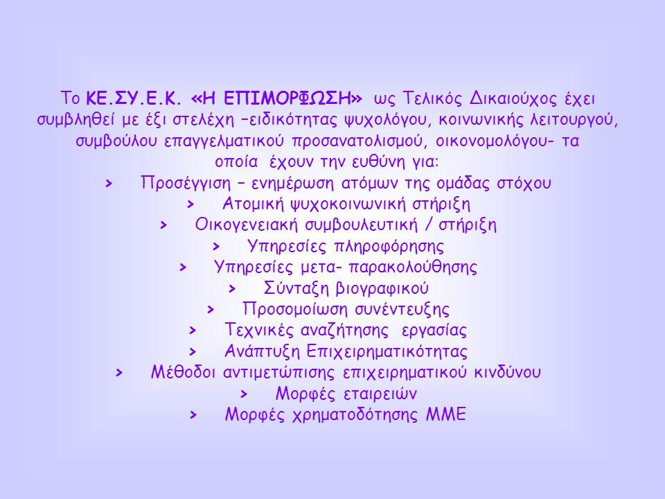 Η δράση 'Συμβουλευτική' αποτελεί ενέργεια του εγκεκριμένου Σχεδίου «ΑΡΣΗ από την ανεργία και την περιθωριοποίηση στην απασχόληση» στο πλαίσιο του Μέτρου 5.3 Τοπικές Πρωτοβουλίες Απασχόλησης του ΠΕΠ Στερεάς Ελλάδας 2000 - 2006 η οποία αφορά δέσμη υπηρεσιών με στόχο την ενεργοποίηση, ενδυνάμωση, εμψύχωση των ανέργων της περιοχής των Δήμων Κηρέως, Ελυμνίων, Νηλέως για την προώθησή τους στην δράση της απασχόλησης.