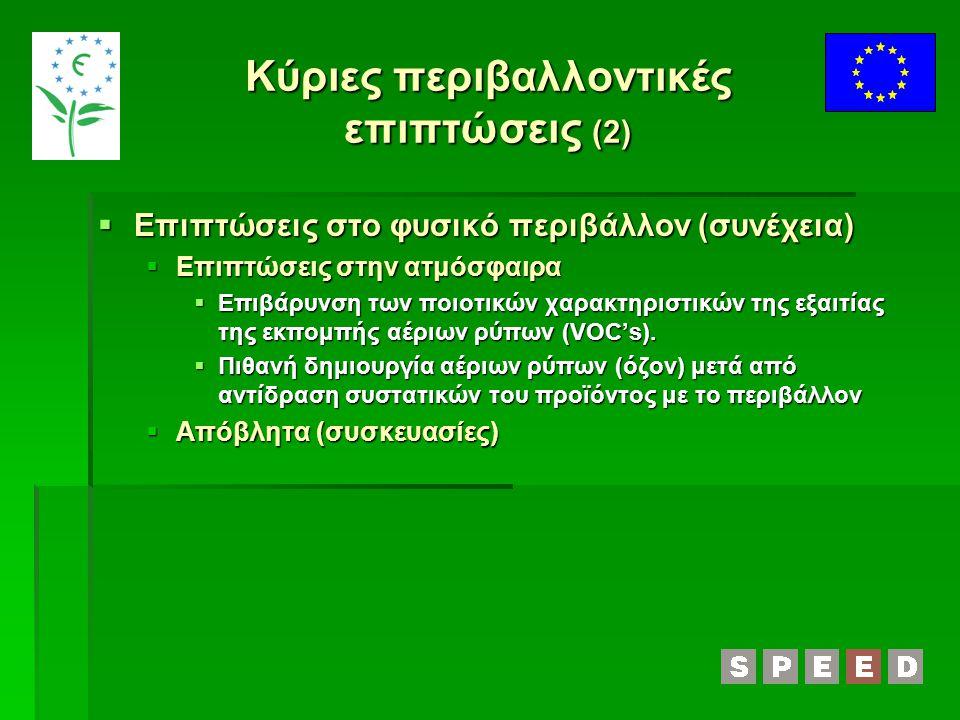 Κύριες περιβαλλοντικές επιπτώσεις (2)  Επιπτώσεις στο φυσικό περιβάλλον (συνέχεια)  Επιπτώσεις στην ατμόσφαιρα  Επιβάρυνση των ποιοτικών χαρακτηρισ