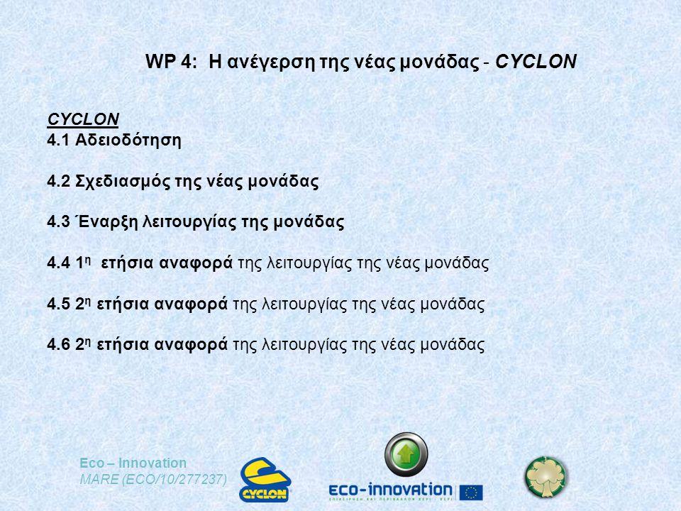 Eco – Innovation MARE (ECO/10/277237) WP 4: Η ανέγερση της νέας μονάδας - CYCLON CYCLON 4.1 Αδειοδότηση 4.2 Σχεδιασμός της νέας μονάδας 4.3 Έναρξη λειτουργίας της μονάδας 4.4 1 η ετήσια αναφορά της λειτουργίας της νέας μονάδας 4.5 2 η ετήσια αναφορά της λειτουργίας της νέας μονάδας 4.6 2 η ετήσια αναφορά της λειτουργίας της νέας μονάδας