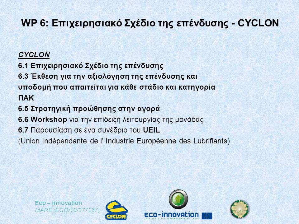 Eco – Innovation MARE (ECO/10/277237) WP 6: Επιχειρησιακό Σχέδιο της επένδυσης - CYCLON CYCLON 6.1 Επιχειρησιακό Σχέδιο της επένδυσης 6.3 Έκθεση για την αξιολόγηση της επένδυσης και υποδομή που απαιτείται για κάθε στάδιο και κατηγορία ΠΑΚ 6.5 Στρατηγική προώθησης στην αγορά 6.6 Workshop για την επίδειξη λειτουργίας της μονάδας 6.7 Παρουσίαση σε ένα συνέδριο του UEIL (Union Indépendante de l' Industrie Européenne des Lubrifiants)