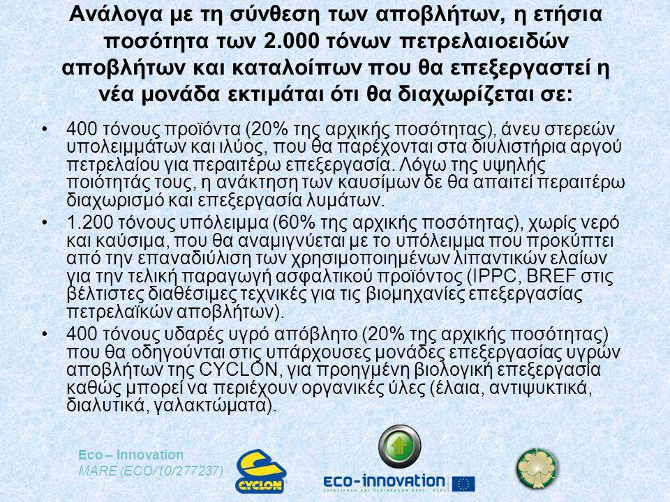 Eco – Innovation MARE (ECO/10/277237) Ανάλογα με τη σύνθεση των αποβλήτων, η ετήσια ποσότητα των 2.000 τόνων πετρελαιοειδών αποβλήτων και καταλοίπων που θα επεξεργαστεί η νέα μονάδα εκτιμάται ότι θα διαχωρίζεται σε: •400 τόνους προϊόντα (20% της αρχικής ποσότητας), άνευ στερεών υπολειμμάτων και ιλύος, που θα παρέχονται στα διυλιστήρια αργού πετρελαίου για περαιτέρω επεξεργασία.