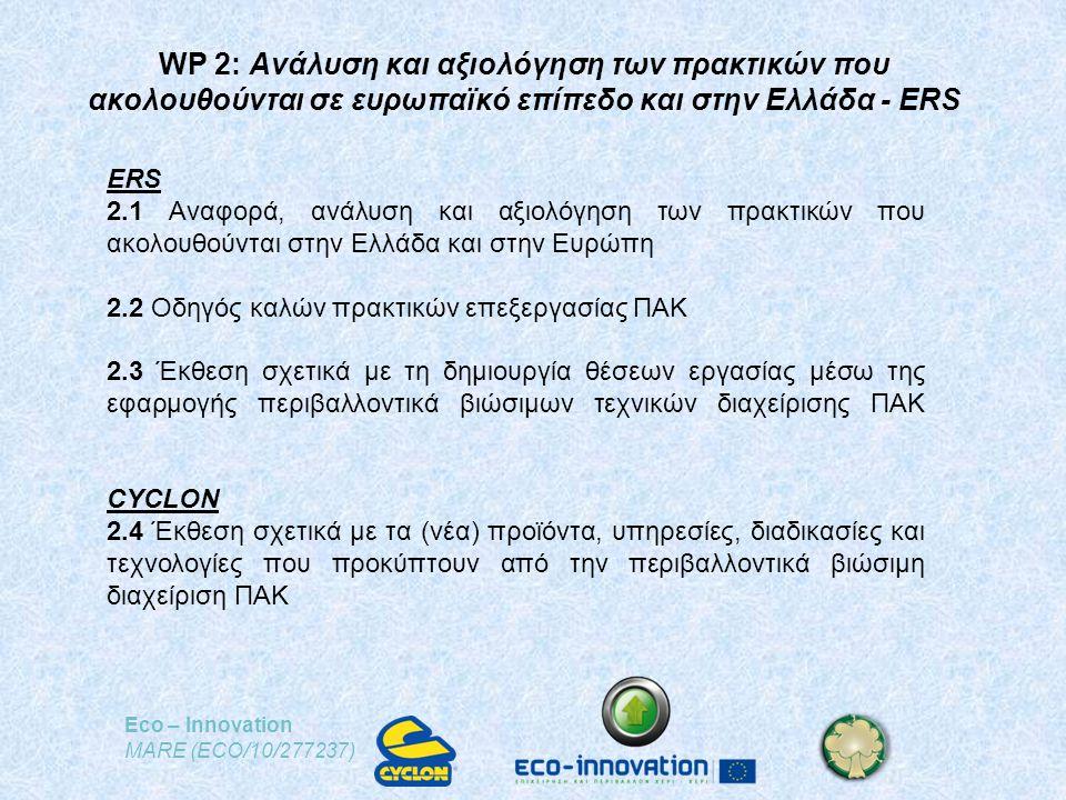 Eco – Innovation MARE (ECO/10/277237) WP 2: Ανάλυση και αξιολόγηση των πρακτικών που ακολουθούνται σε ευρωπαϊκό επίπεδο και στην Ελλάδα - ERS ERS 2.1 Αναφορά, ανάλυση και αξιολόγηση των πρακτικών που ακολουθούνται στην Ελλάδα και στην Ευρώπη 2.2 Οδηγός καλών πρακτικών επεξεργασίας ΠΑΚ 2.3 Έκθεση σχετικά με τη δημιουργία θέσεων εργασίας μέσω της εφαρμογής περιβαλλοντικά βιώσιμων τεχνικών διαχείρισης ΠΑΚ CYCLON 2.4 Έκθεση σχετικά με τα (νέα) προϊόντα, υπηρεσίες, διαδικασίες και τεχνολογίες που προκύπτουν από την περιβαλλοντικά βιώσιμη διαχείριση ΠΑΚ