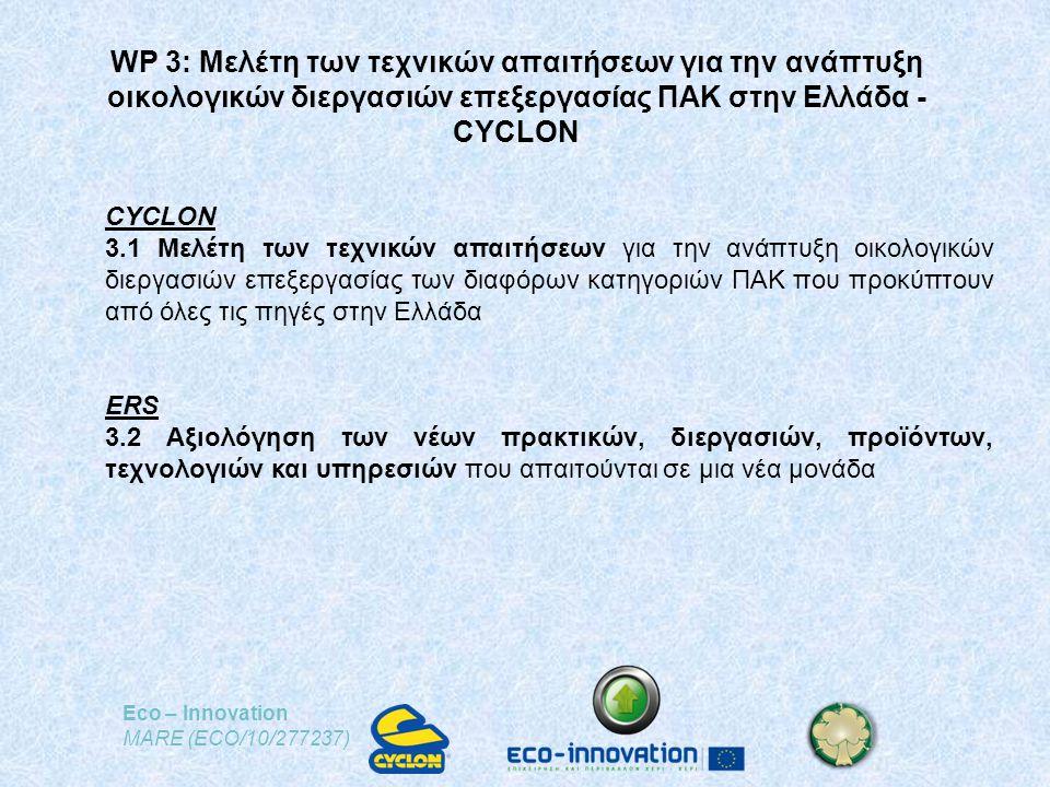 Eco – Innovation MARE (ECO/10/277237) WP 3: Μελέτη των τεχνικών απαιτήσεων για την ανάπτυξη οικολογικών διεργασιών επεξεργασίας ΠΑΚ στην Ελλάδα - CYCLON CYCLON 3.1 Μελέτη των τεχνικών απαιτήσεων για την ανάπτυξη οικολογικών διεργασιών επεξεργασίας των διαφόρων κατηγοριών ΠΑΚ που προκύπτουν από όλες τις πηγές στην Ελλάδα ERS 3.2 Αξιολόγηση των νέων πρακτικών, διεργασιών, προϊόντων, τεχνολογιών και υπηρεσιών που απαιτούνται σε μια νέα μονάδα