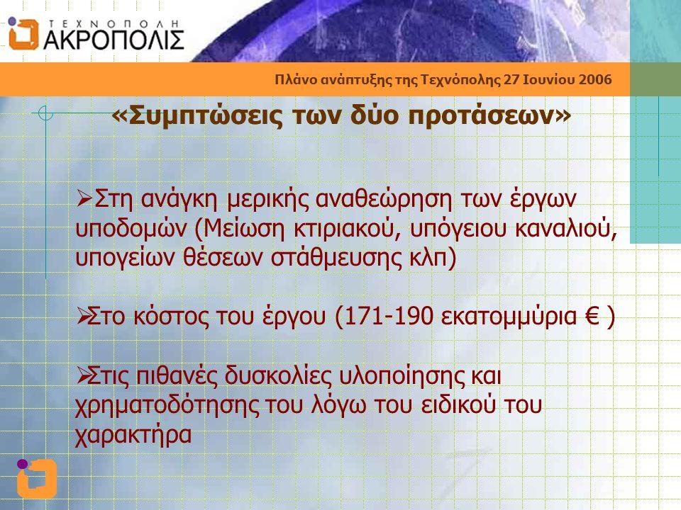 Πλάνο ανάπτυξης της Τεχνόπολης 27 Ιουνίου 2006 «Συμπτώσεις των δύο προτάσεων»  Στη ανάγκη μερικής αναθεώρηση των έργων υποδομών (Μείωση κτιριακού, υπόγειου καναλιού, υπογείων θέσεων στάθμευσης κλπ)  Στο κόστος του έργου (171-190 εκατομμύρια € )  Στις πιθανές δυσκολίες υλοποίησης και χρηματοδότησης του λόγω του ειδικού του χαρακτήρα