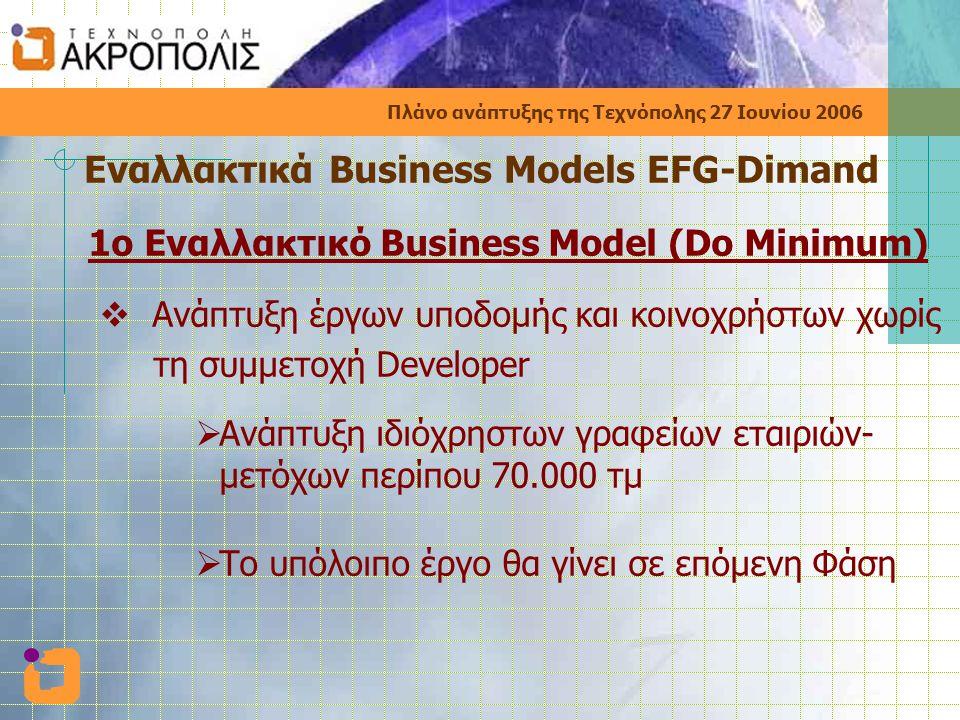 Πλάνο ανάπτυξης της Τεχνόπολης 27 Ιουνίου 2006 Εναλλακτικά Business Models EFG-Dimand 1ο Εναλλακτικό Business Model (Do Minimum)  Ανάπτυξη έργων υποδομής και κοινοχρήστων χωρίς τη συμμετοχή Developer  Ανάπτυξη ιδιόχρηστων γραφείων εταιριών- μετόχων περίπου 70.000 τμ  Το υπόλοιπο έργο θα γίνει σε επόμενη Φάση