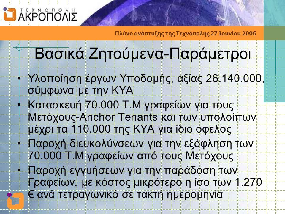 Πλάνο ανάπτυξης της Τεχνόπολης 27 Ιουνίου 2006 Βασικά Ζητούμενα-Παράμετροι •Υλοποίηση έργων Υποδομής, αξίας 26.140.000, σύμφωνα με την ΚΥΑ •Κατασκευή 70.000 Τ.Μ γραφείων για τους Μετόχους-Anchor Tenants και των υπολοίπων μέχρι τα 110.000 της ΚΥΑ για ίδιο όφελος •Παροχή διευκολύνσεων για την εξόφληση των 70.000 Τ.Μ γραφείων από τους Μετόχους •Παροχή εγγυήσεων για την παράδοση των Γραφείων, με κόστος μικρότερο η ίσο των 1.270 € ανά τετραγωνικό σε τακτή ημερομηνία