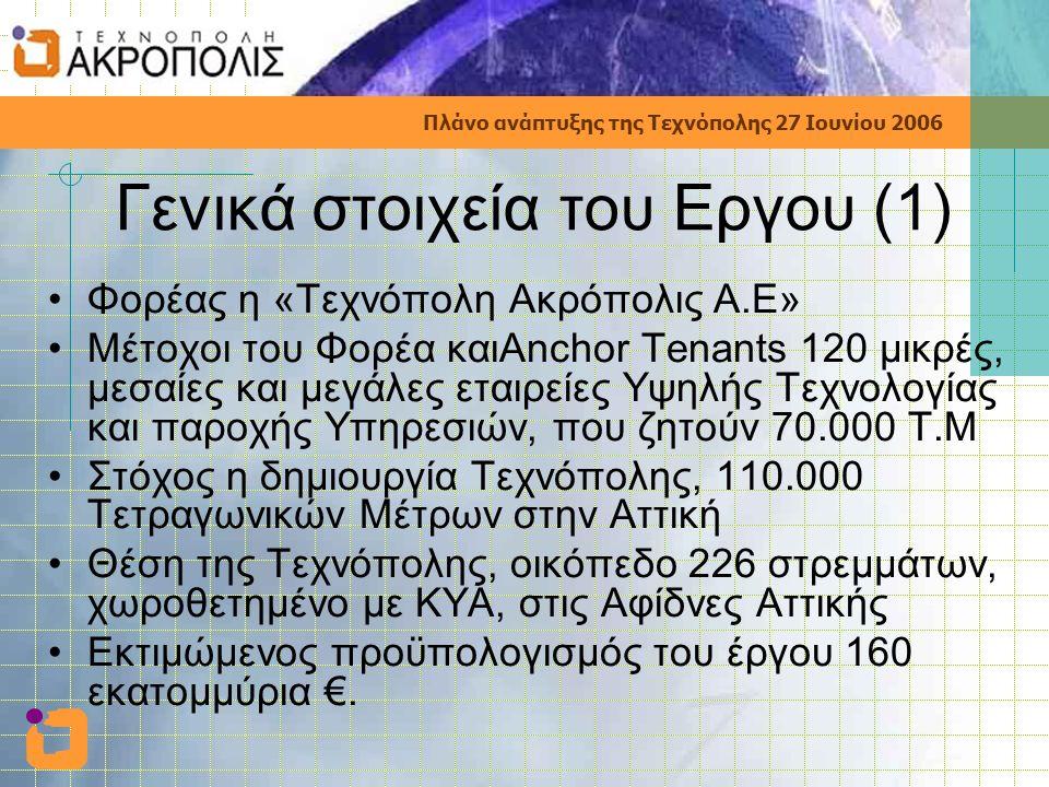 Πλάνο ανάπτυξης της Τεχνόπολης 27 Ιουνίου 2006 Γενικά στοιχεία του Εργου (1) •Φορέας η «Τεχνόπολη Ακρόπολις Α.Ε» •Μέτοχοι του Φορέα καιAnchor Tenants 120 μικρές, μεσαίες και μεγάλες εταιρείες Υψηλής Τεχνολογίας και παροχής Υπηρεσιών, που ζητούν 70.000 Τ.Μ •Στόχος η δημιουργία Τεχνόπολης, 110.000 Τετραγωνικών Μέτρων στην Αττική •Θέση της Τεχνόπολης, οικόπεδο 226 στρεμμάτων, χωροθετημένο με ΚΥΑ, στις Αφίδνες Αττικής •Εκτιμώμενος προϋπολογισμός του έργου 160 εκατομμύρια €.