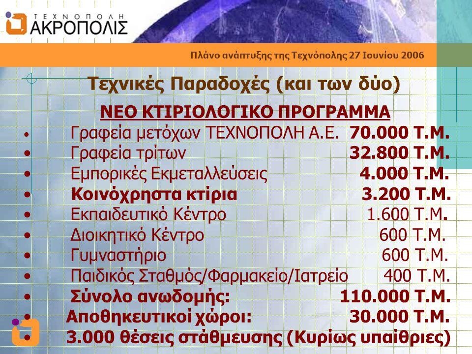 Πλάνο ανάπτυξης της Τεχνόπολης 27 Ιουνίου 2006 Τεχνικές Παραδοχές (και των δύο) ΝΕΟ ΚΤΙΡΙΟΛΟΓΙΚΟ ΠΡΟΓΡΑΜΜΑ • Γραφεία μετόχων ΤΕΧΝΟΠΟΛΗ Α.Ε.