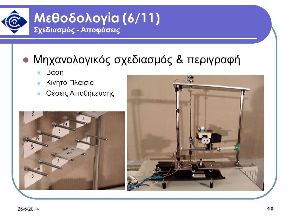 26/6/2014 10 Μεθοδολογία (6/11) Σχεδιασμός - Αποφάσεις  Μηχανολογικός σχεδιασμός & περιγραφή  Βάση  Κινητό Πλαίσιο  Θέσεις Αποθήκευσης