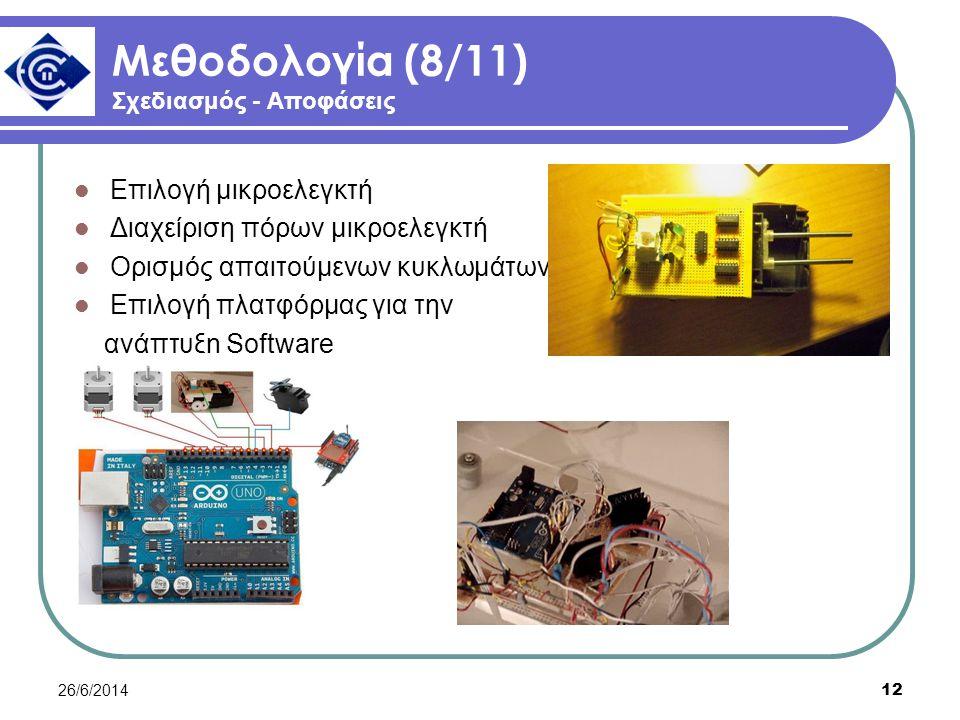 26/6/2014 12 Μεθοδολογία (8/11) Σχεδιασμός - Αποφάσεις  Επιλογή μικροελεγκτή  Διαχείριση πόρων μικροελεγκτή  Ορισμός απαιτούμενων κυκλωμάτων  Επιλογή πλατφόρμας για την ανάπτυξη Software