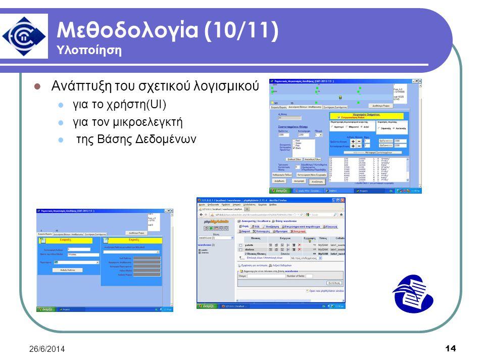 26/6/2014 14 Μεθοδολογία (10/11) Υλοποίηση  Ανάπτυξη του σχετικού λογισμικού  για το χρήστη(UI)  για τον μικροελεγκτή  της Βάσης Δεδομένων
