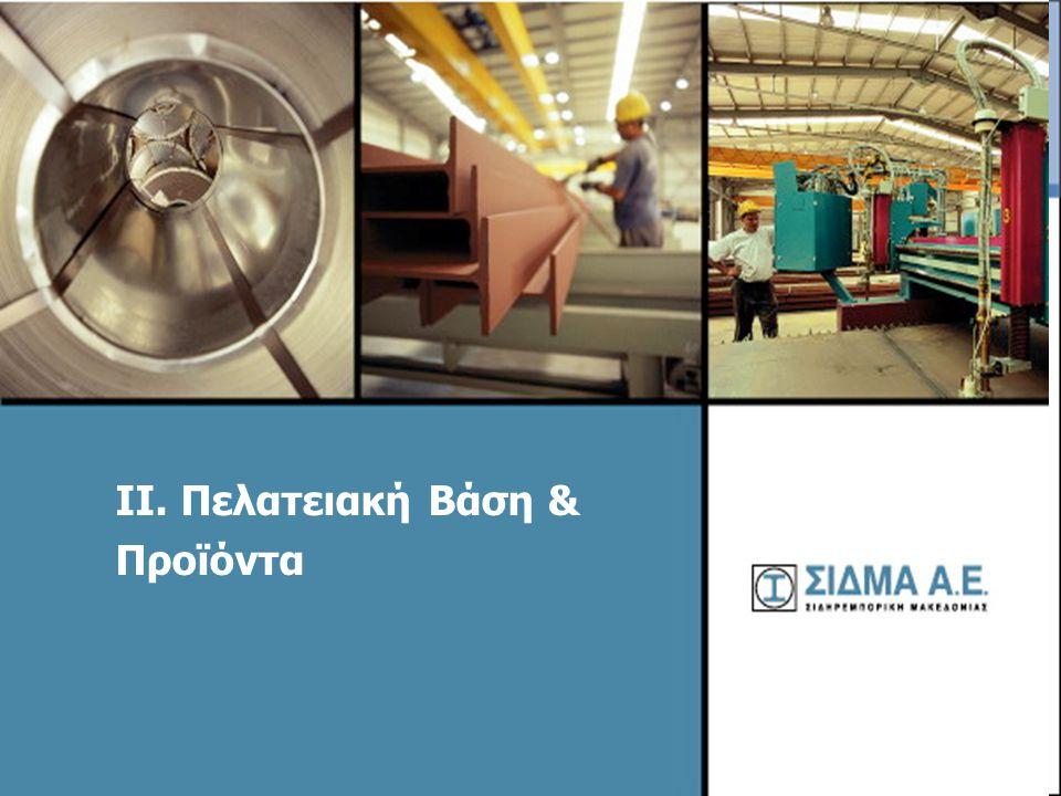 11 Πελατειακή Βάση  Βιομηχανίες, οι οποίες χρησιμοποιούν υλικά χάλυβα ως πρώτη ύλη για την παραγωγή τους.