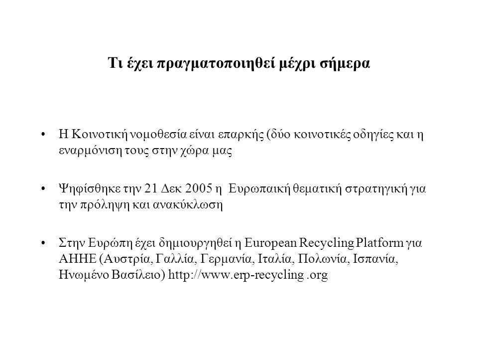 Τι έχει πραγματοποιηθεί μέχρι σήμερα •H Κοινοτική νομοθεσία είναι επαρκής (δύο κοινοτικές οδηγίες και η εναρμόνιση τους στην χώρα μας •Ψηφίσθηκε την 21 Δεκ 2005 η Ευρωπαική θεματική στρατηγική για την πρόληψη και ανακύκλωση •Στην Ευρώπη έχει δημιουργηθεί η European Recycling Platform για ΑΗΗΕ (Αυστρία, Γαλλία, Γερμανία, Ιταλία, Πολωνία, Ισπανία, Ηνωμένο Βασίλειο) http://www.erp-recycling.org
