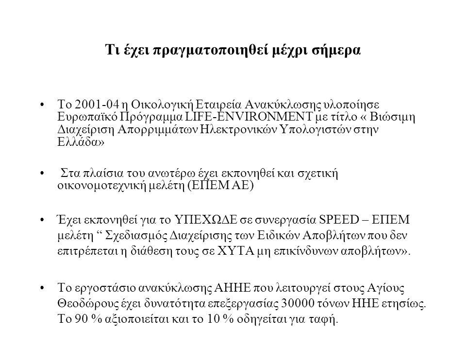 Τι έχει πραγματοποιηθεί μέχρι σήμερα •Το 2001-04 η Οικολογική Εταιρεία Ανακύκλωσης υλοποίησε Ευρωπαϊκό Πρόγραμμα LIFE-ENVIRONMENT με τίτλο « Βιώσιμη Διαχείριση Απορριμμάτων Ηλεκτρονικών Υπολογιστών στην Ελλάδα» • Στα πλαίσια του ανωτέρω έχει εκπονηθεί και σχετική οικονομοτεχνική μελέτη (ΕΠΕΜ ΑΕ) •Έχει εκπονηθεί για το ΥΠΕΧΩΔΕ σε συνεργασία SPEED – ΕΠΕΜ μελέτη Σχεδιασμός Διαχείρισης των Ειδικών Αποβλήτων που δεν επιτρέπεται η διάθεση τους σε ΧΥΤΑ μη επικίνδυνων αποβλήτων».