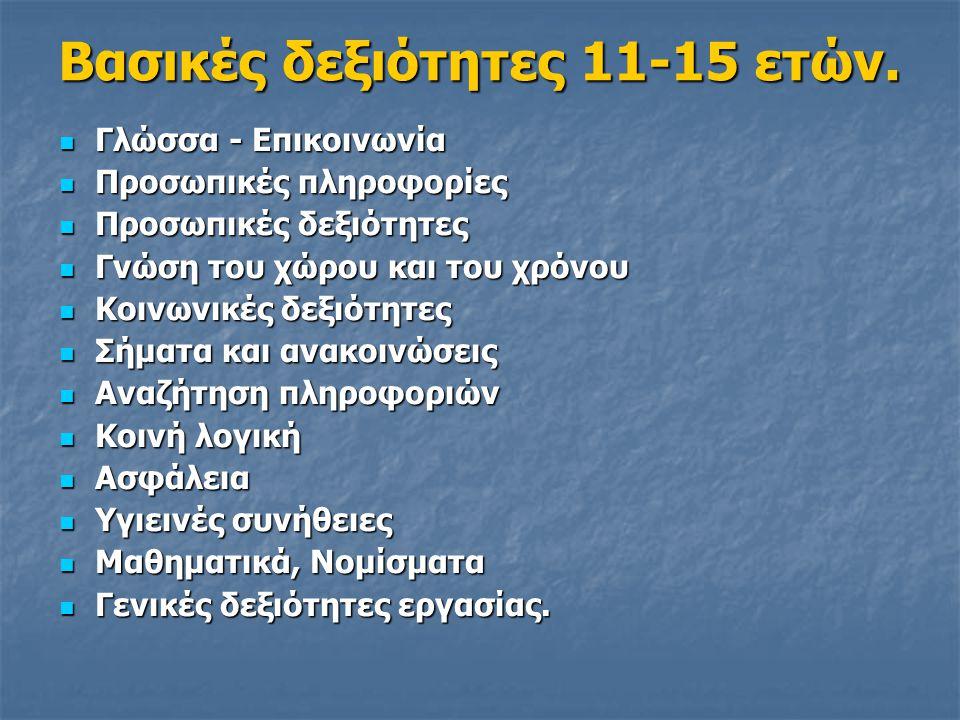 Βασικές δεξιότητες 11-15 ετών.  Γλώσσα - Επικοινωνία  Προσωπικές πληροφορίες  Προσωπικές δεξιότητες  Γνώση του χώρου και του χρόνου  Κοινωνικές δ