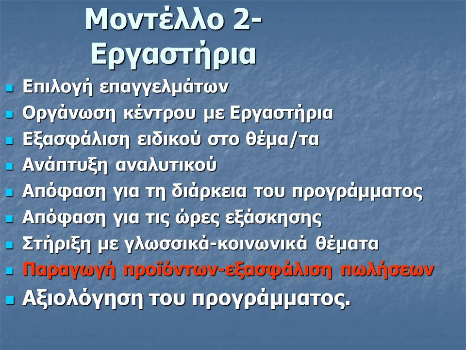 Μοντέλλο 2- Εργαστήρια  Επιλογή επαγγελμάτων  Οργάνωση κέντρου με Εργαστήρια  Εξασφάλιση ειδικού στο θέμα/τα  Ανάπτυξη αναλυτικού  Απόφαση για τη