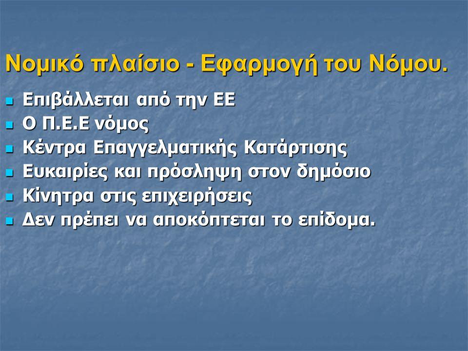 Νομικό πλαίσιο - Εφαρμογή του Νόμου.  Επιβάλλεται από την ΕΕ  Ο Π.Ε.Ε νόμος  Κέντρα Επαγγελματικής Κατάρτισης  Ευκαιρίες και πρόσληψη στον δημόσιο