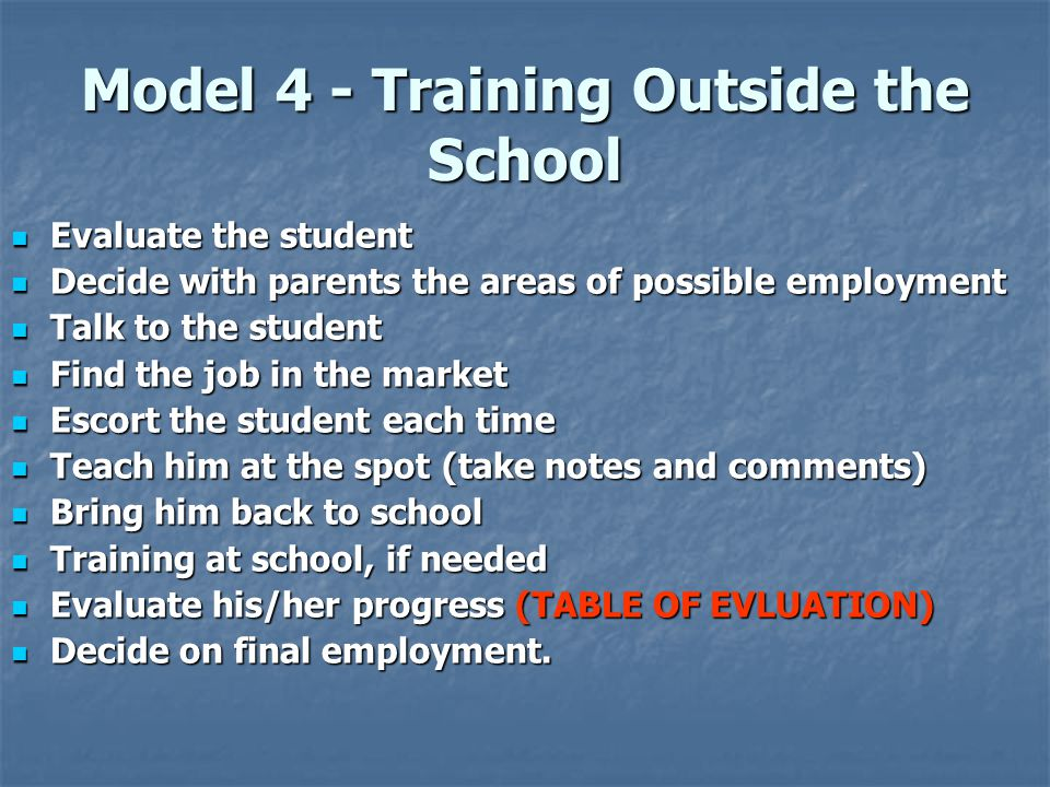 Model 4 - Training Outside the School  Evaluate the student  Decide with parents the areas of possible employment  Talk to the student  Find the job in the market  Escort the student each time  Teach him at the spot (take notes and comments)  Bring him back to school  Training at school, if needed  Evaluate his/her progress (TABLE OF EVLUATION)  Decide on final employment.