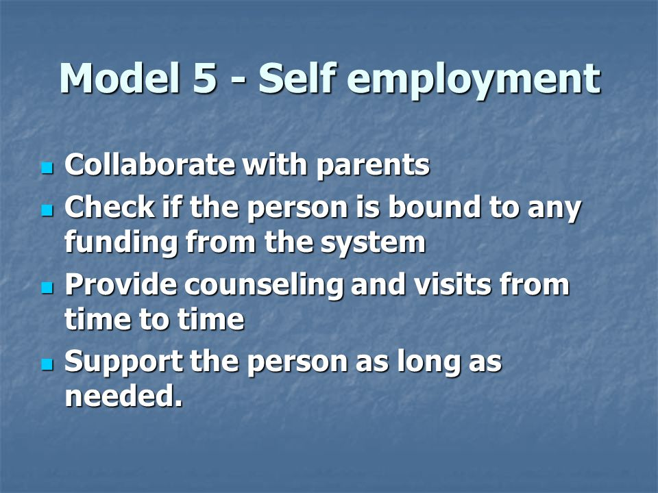Model 5 - Self employment  Collaborate with parents  Check if the person is bound to any funding from the system  Provide counseling and visits from time to time  Support the person as long as needed.