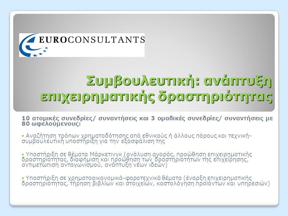 Συμβουλευτική: ανάπτυξη επιχειρηματικής δραστηριότητας 10 ατομικές συνεδρίες/ συναντήσεις και 3 ομαδικές συνεδρίες/ συναντήσεις με 80 ωφελούμενους:  Αναζήτηση τρόπων χρηματοδότησης από εθνικούς ή άλλους πόρους και τεχνική- συμβουλευτική υποστήριξη για την εξασφάλιση της  Υποστήριξη σε θέματα Μάρκετινγκ (ανάλυση αγοράς, προώθηση επιχειρηματικής δραστηριότητας, διαφήμιση και προώθηση των δραστηριοτήτων της επιχείρησης, αντιμετώπιση ανταγωνισμού, ανάπτυξη νέων ιδεών)  Υποστήριξη σε χρηματοοικονομικά-φοροτεχνικά θέματα (έναρξη επιχειρηματικής δραστηριότητας, τήρηση βιβλίων και στοιχείων, κοστολόγηση προϊόντων και υπηρεσιών)