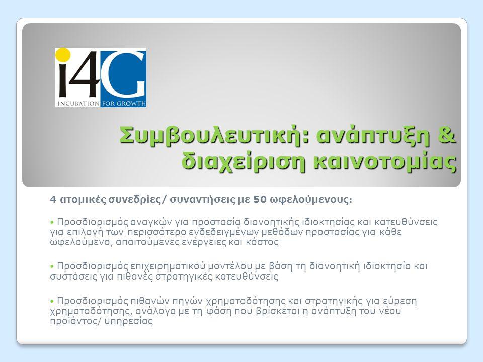 Συμβουλευτική: ανάπτυξη & διαχείριση καινοτομίας 4 ατομικές συνεδρίες/ συναντήσεις με 50 ωφελούμενους:  Προσδιορισμός αναγκών για προστασία διανοητικ