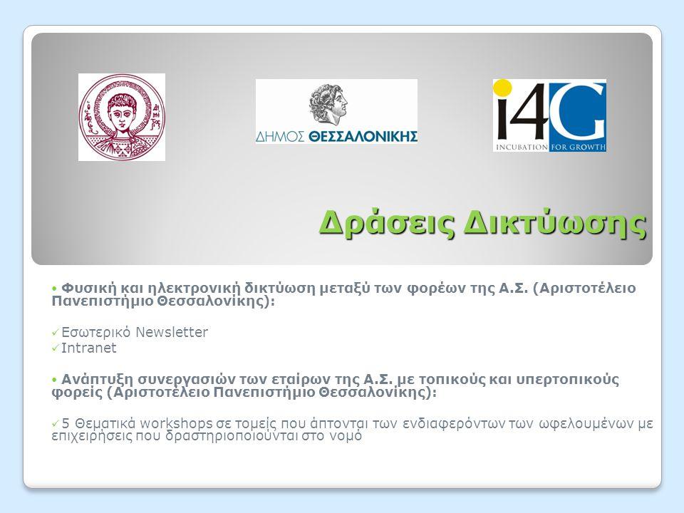 Δράσεις Δικτύωσης  Φυσική και ηλεκτρονική δικτύωση μεταξύ των φορέων της Α.Σ. (Αριστοτέλειο Πανεπιστήμιο Θεσσαλονίκης):  Εσωτερικό Newsletter  Intr