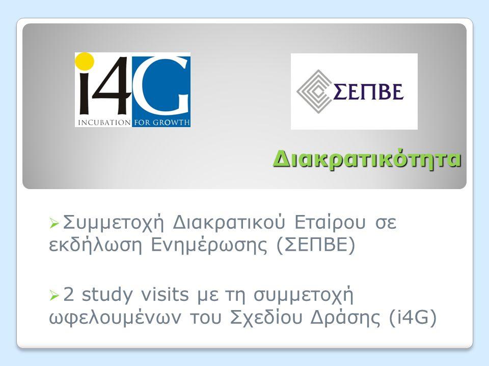 Διακρατικότητα  Συμμετοχή Διακρατικού Εταίρου σε εκδήλωση Ενημέρωσης (ΣΕΠΒΕ)  2 study visits με τη συμμετοχή ωφελουμένων του Σχεδίου Δράσης (i4G)