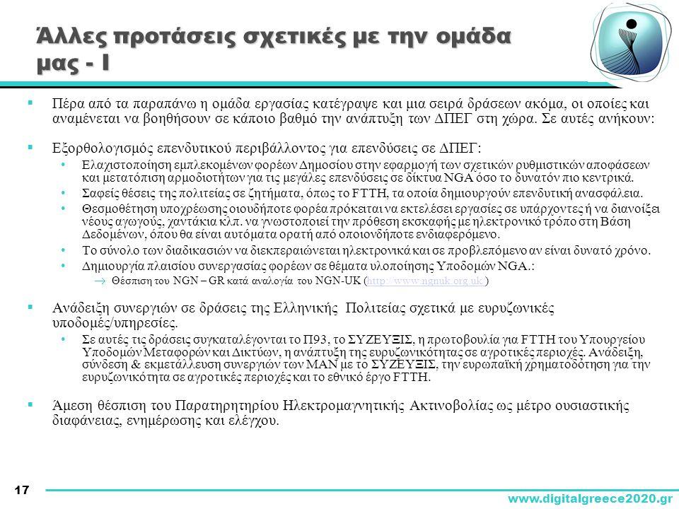 17 www.digitalgreece2020.gr Άλλες προτάσεις σχετικές με την ομάδα μας - Ι  Πέρα από τα παραπάνω η ομάδα εργασίας κατέγραψε και μια σειρά δράσεων ακόμ