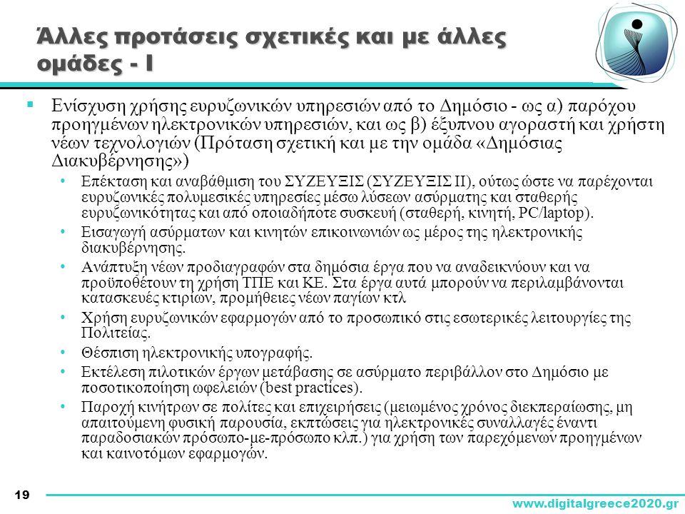 19 www.digitalgreece2020.gr Άλλες προτάσεις σχετικές και με άλλες ομάδες - Ι  Ενίσχυση χρήσης ευρυζωνικών υπηρεσιών από το Δημόσιο - ως α) παρόχου πρ