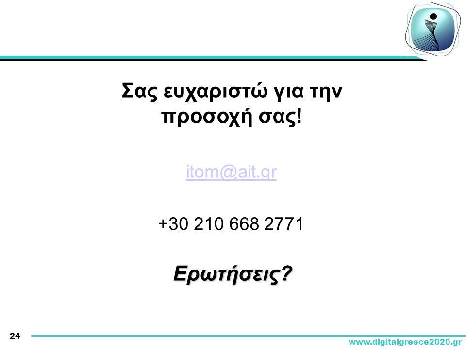 24 www.digitalgreece2020.gr Σας ευχαριστώ για την προσοχή σας! itom@ait.gr +30 210 668 2771 Ερωτήσεις?