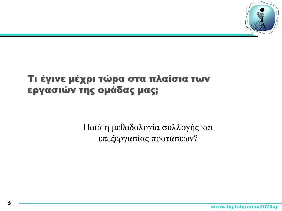 3 www.digitalgreece2020.gr Τι έγινε μέχρι τώρα στα πλαίσια των εργασιών της ομάδας μας; Ποιά η μεθοδολογία συλλογής και επεξεργασίας προτάσεων?