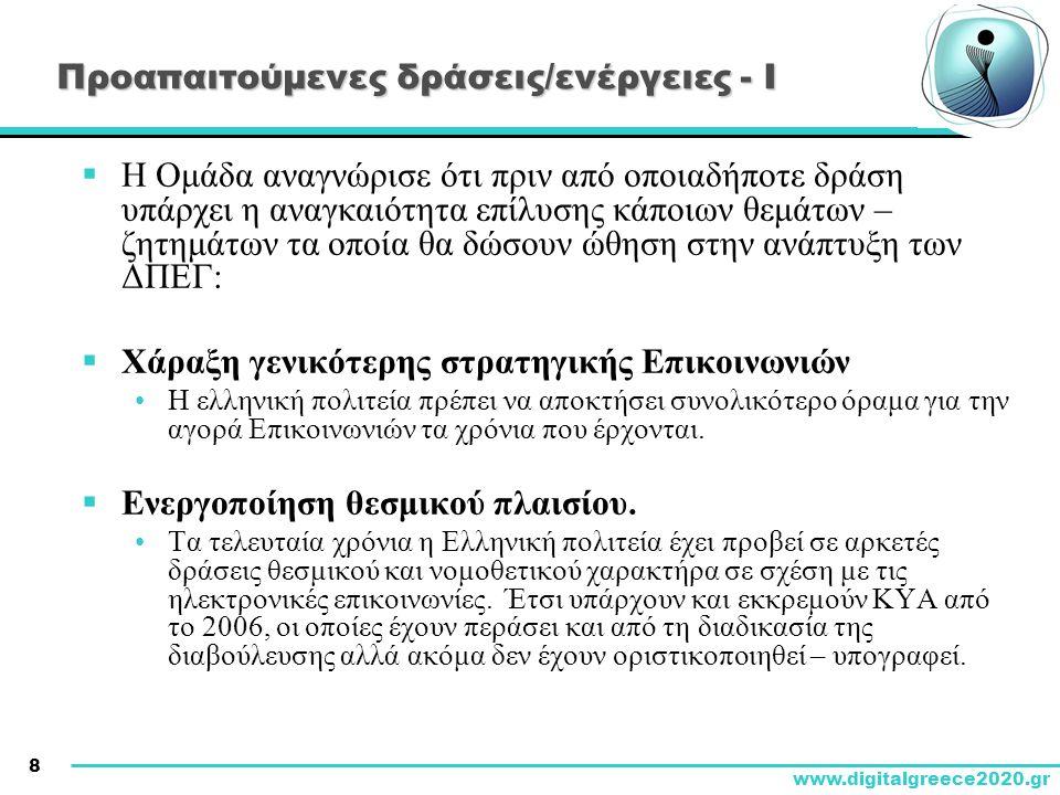 9 www.digitalgreece2020.gr Προαπαιτούμενες δράσεις/ενέργειες - ΙΙ  Εκσυγχρονισμός & εξορθολογισμός θεσμικού και ρυθμιστικού πλαισίου Δικαιωμάτων Διέλευσης •Θεσμοθέτηση διαφανούς και αποδοτικού θεσμικού πλαισίου για τα Δικαιώματα Διέλευσης.