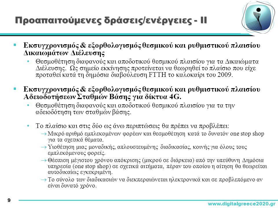 10 www.digitalgreece2020.gr Προαπαιτούμενες δράσεις/ενέργειες - ΙΙΙ  Επιτάχυνση των διαδικασιών για το πρόγραμμα FTTH του Υπ.Υ.Με.Δ.