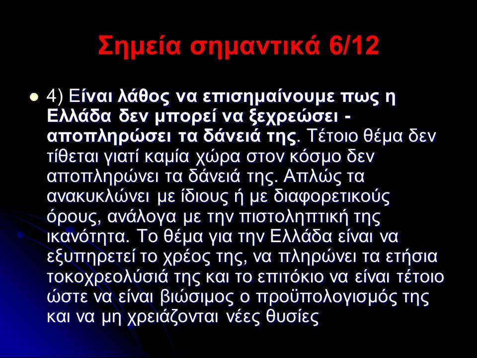 Σημεία σημαντικά 6/12  Είναι λάθος να επισημαίνουμε πως η Ελλάδα δεν μπορεί να ξεχρεώσει - αποπληρώσει τα δάνειά της. Τέτοιο θέμα δεν τίθεται γιατί κ