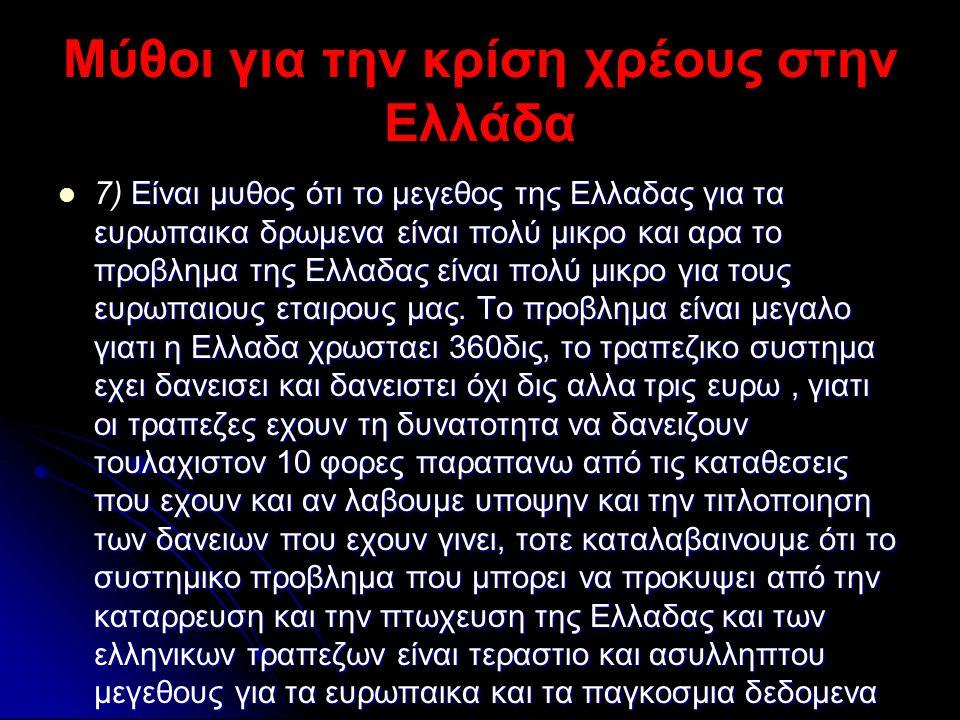 Μύθοι για την κρίση χρέους στην Ελλάδα  Είναι μυθος ότι το μεγεθος της Ελλαδας για τα ευρωπαικα δρωμενα είναι πολύ μικρο και αρα το προβλημα της Ελλα