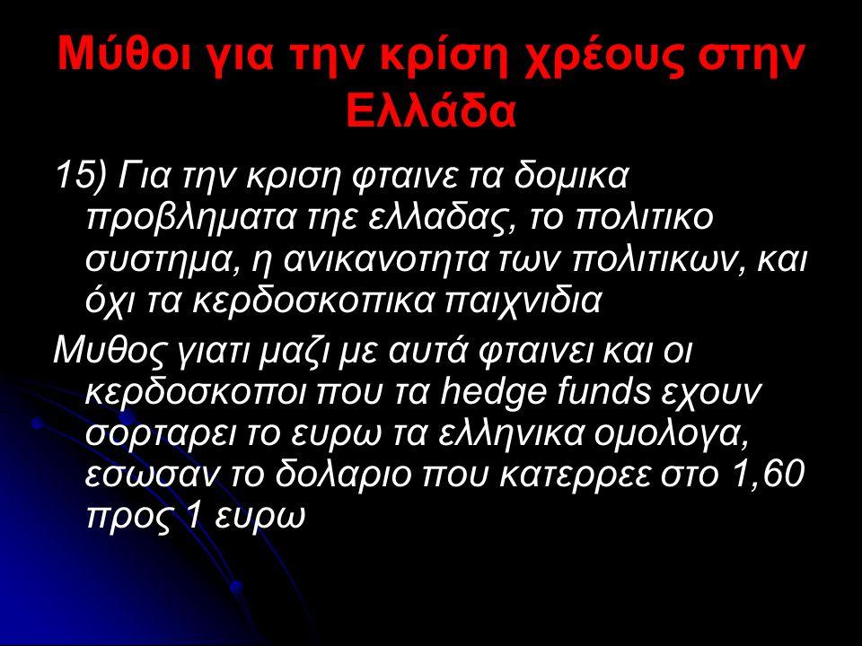Μύθοι για την κρίση χρέους στην Ελλάδα 15) Για την κριση φταινε τα δομικα προβληματα τηε ελλαδας, το πολιτικο συστημα, η ανικανοτητα των πολιτικων, κα