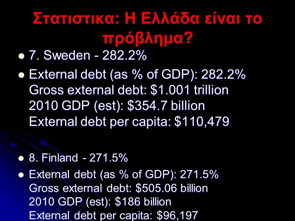 Στατιστικα: Η Ελλάδα είναι το πρόβλημα?  7. Sweden - 282.2%  External debt (as % of GDP): 282.2% Gross external debt: $1.001 trillion 2010 GDP (est)