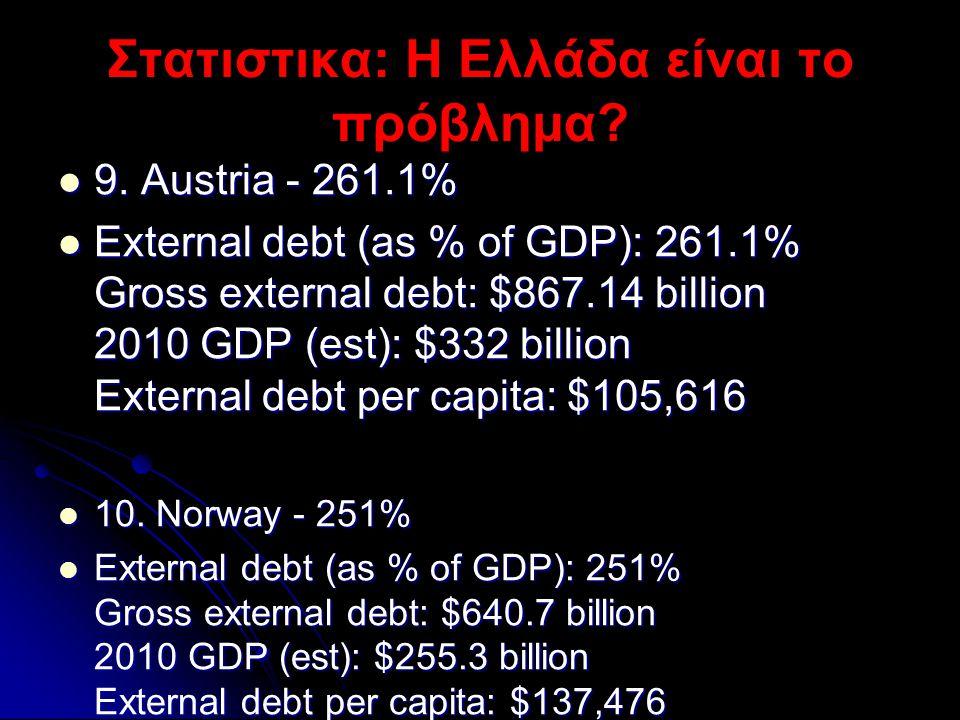 Στατιστικα: Η Ελλάδα είναι το πρόβλημα?  9. Austria - 261.1%  External debt (as % of GDP): 261.1% Gross external debt: $867.14 billion 2010 GDP (est