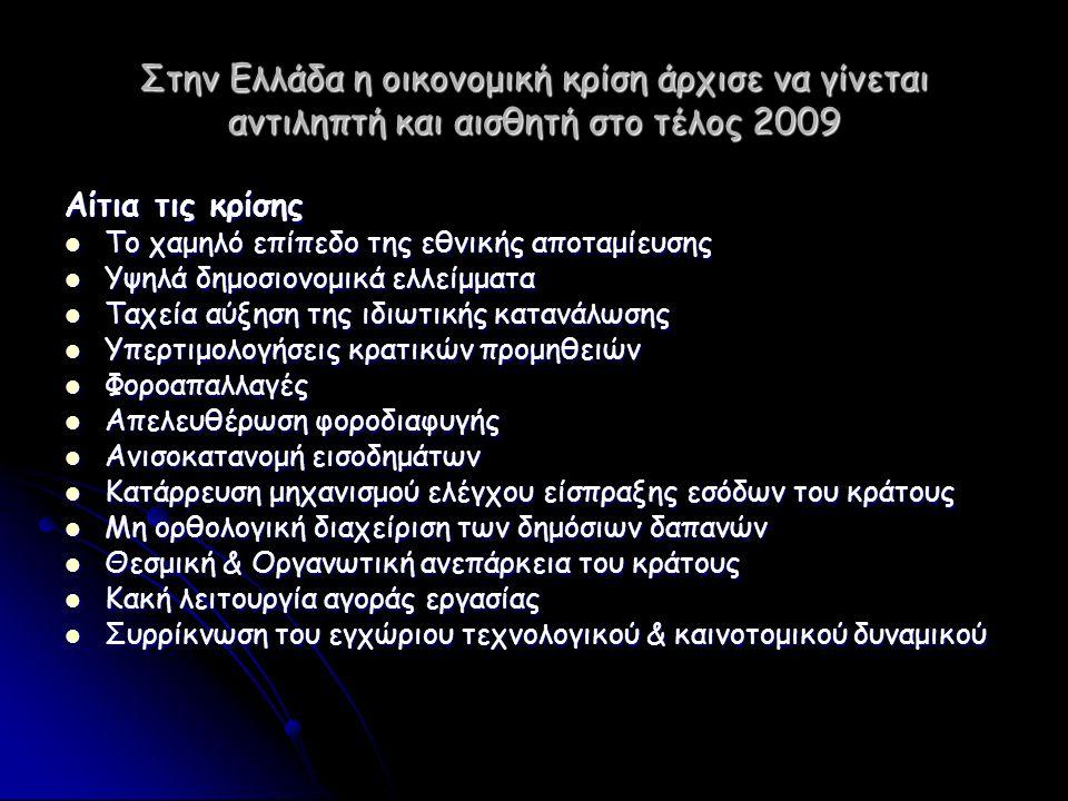 Στην Ελλάδα η οικονομική κρίση άρχισε να γίνεται αντιληπτή και αισθητή στο τέλος 2009 Αίτια τις κρίσης  Το χαμηλό επίπεδο της εθνικής αποταμίευσης 