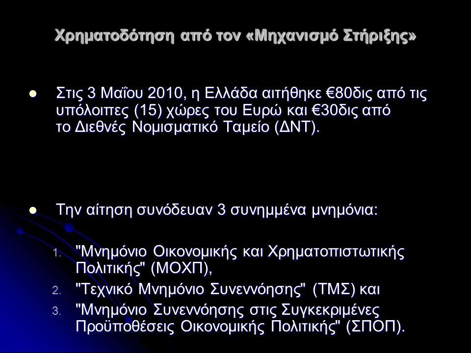 Χρηματοδότηση από τον «Μηχανισμό Στήριξης»  Στις 3 Μαΐου 2010, η Ελλάδα αιτήθηκε €80δις από τις υπόλοιπες (15) χώρες του Ευρώ και €30δις από το Διεθν