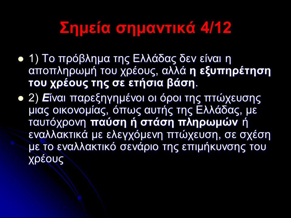 Σημεία σημαντικά 4/12  Το πρόβλημα της Ελλάδας δεν είναι η αποπληρωμή του χρέους, αλλά η εξυπηρέτηση του χρέους της σε ετήσια βάση.  1) Το πρόβλημα