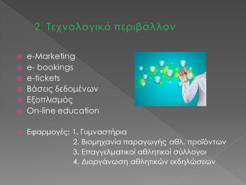  e-Marketing  e- bookings  e-tickets  Βάσεις δεδομένων  Εξοπλισμός  On-line education  Εφαρμογές: 1. Γυμναστήρια 2. Βιομηχανία παραγωγής αθλ. π