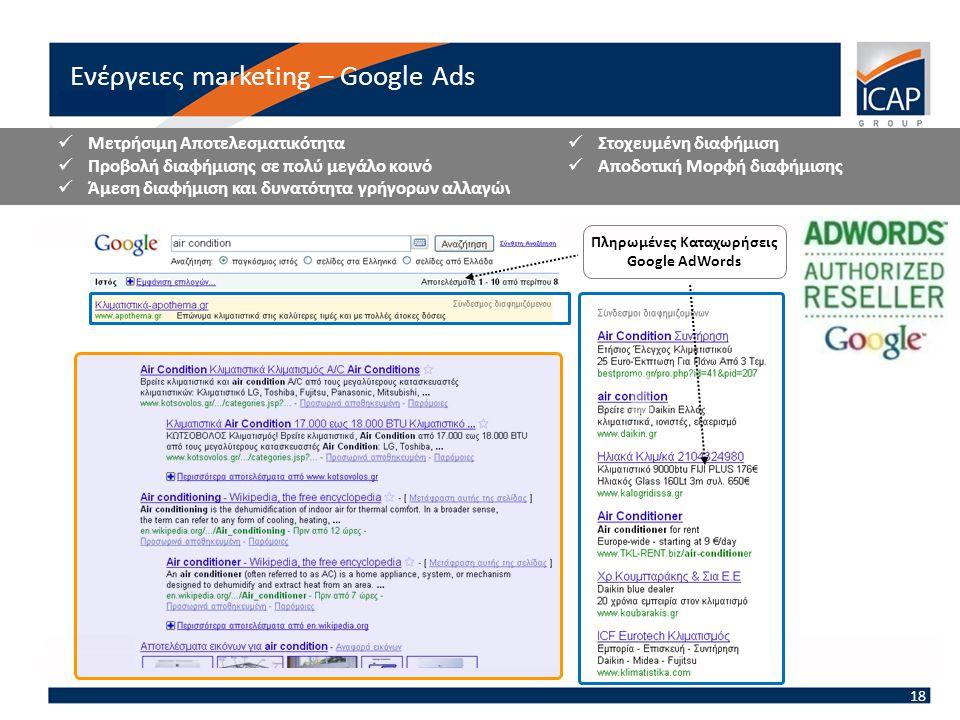 Πληρωμένες Καταχωρήσεις Google AdWords  Μετρήσιμη Αποτελεσματικότητα  Προβολή διαφήμισης σε πολύ μεγάλο κοινό  Άμεση διαφήμιση και δυνατότητα γρήγορων αλλαγών  Στοχευμένη διαφήμιση  Αποδοτική Μορφή διαφήμισης Ενέργειες marketing – Google Ads 18