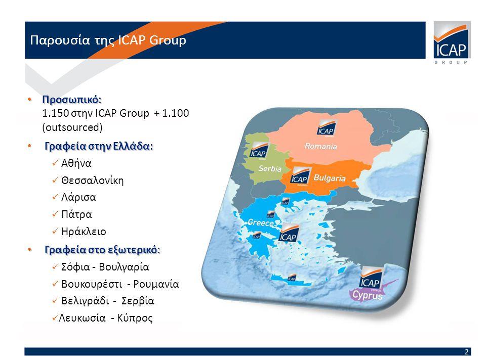 Παρουσία της ICAP Group 2 • Προσωπικό: • Προσωπικό: 1.150 στην ICAP Group + 1.100 (outsourced) Γραφεία στην Ελλάδα: • Γραφεία στην Ελλάδα:  Αθήνα  Θεσσαλονίκη  Λάρισα  Πάτρα  Ηράκλειο • Γραφεία στο εξωτερικό:  Σόφια - Βουλγαρία  Βουκουρέστι - Ρουμανία  Βελιγράδι - Σερβία  Λευκωσία - Κύπρος