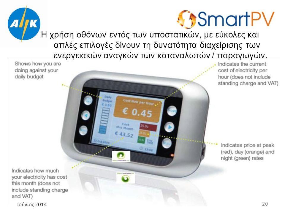 Ιούνιος 2014 20 Η χρήση οθόνων εντός των υποστατικών, με εύκολες και απλές επιλογές δίνουν τη δυνατότητα διαχείρισης των ενεργειακών αναγκών των καταν