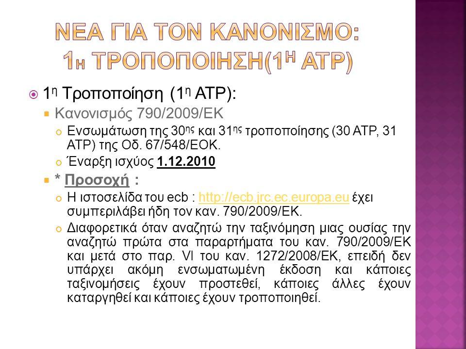  1 η Τροποποίηση (1 η ATP):  Κανονισμός 790/2009/ΕΚ Ενσωμάτωση της 30 ης και 31 ης τροποποίησης (30 ΑΤP, 31 ATP) της Οδ.