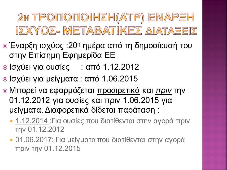  Έναρξη ισχύος :20 η ημέρα από τη δημοσίευσή του στην Επίσημη Εφημερίδα ΕΕ  Iσχύει για ουσίες : από 1.12.2012  Iσχύει για μείγματα : από 1.06.2015  Μπορεί να εφαρμόζεται προαιρετικά και πριν την 01.12.2012 για ουσίες και πριν 1.06.2015 για μείγματα.
