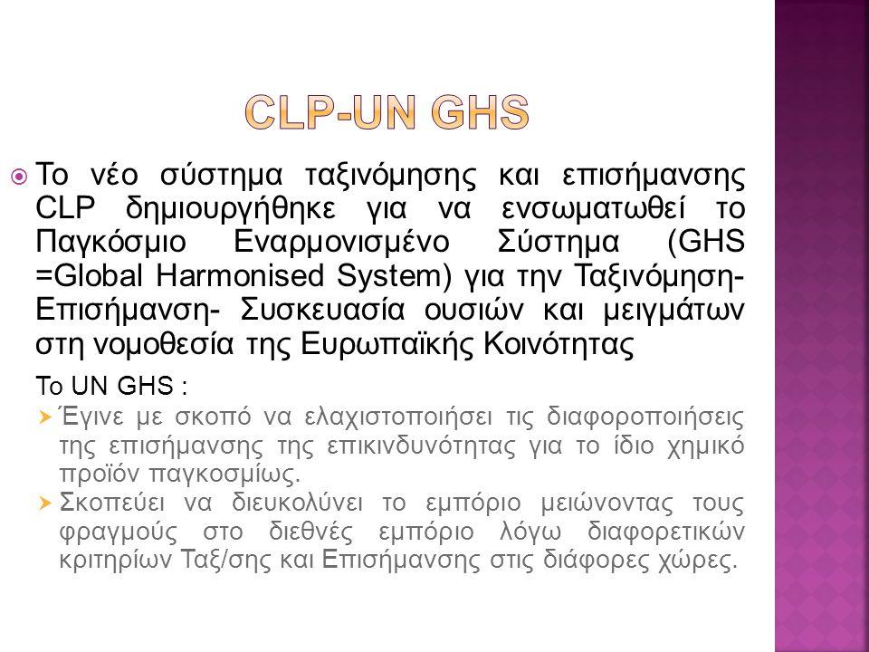  To νέο σύστημα ταξινόμησης και επισήμανσης CLP δημιουργήθηκε για να ενσωματωθεί το Παγκόσμιο Εναρμονισμένο Σύστημα (GHS =Glοbal Harmonised System) για την Ταξινόμηση- Επισήμανση- Συσκευασία ουσιών και μειγμάτων στη νομοθεσία της Ευρωπαϊκής Κοινότητας Το UN GHS :  Έγινε με σκοπό να ελαχιστοποιήσει τις διαφοροποιήσεις της επισήμανσης της επικινδυνότητας για το ίδιο χημικό προϊόν παγκοσμίως.