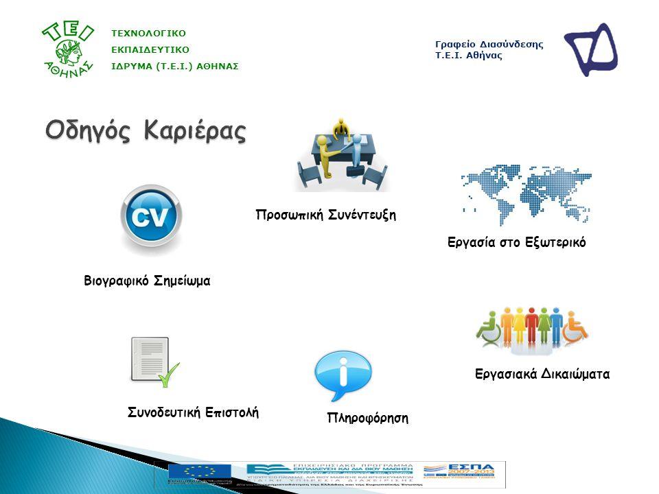  Συνεργασία ερευνητών με κοινωνικούς και παραγωγικούς φορείς  Δημιουργία περιβάλλοντος καινοτομίας ΤΕΧΝΟΛΟΓΙΚΟ ΕΚΠΑΙΔΕΥΤΙΚΟ ΙΔΡΥΜΑ (Τ.Ε.Ι.) ΑΘΗΝΑΣ Γραφείο Διασύνδεσης Τ.Ε.Ι.